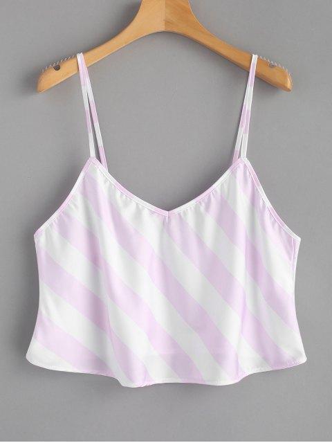 Top sin mangas rayado - Rosa y Blanco M Mobile
