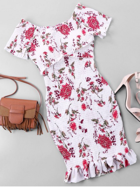 lady Off Shoulder Floral Bodycon Dress - WHITE L Mobile