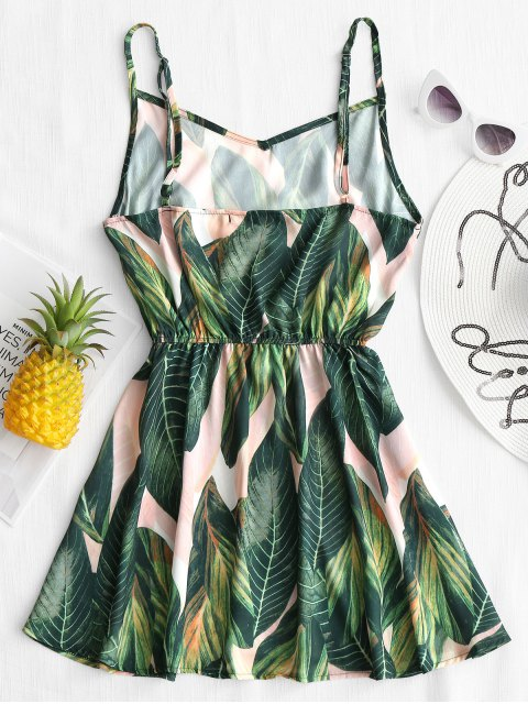 shop Tropical Leaf Print Cami Cover Up Dress - GREEN L Mobile