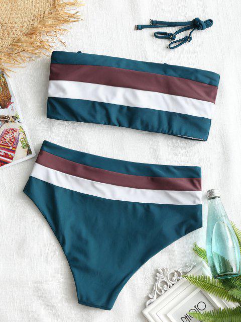 Cami Gestreifter Hoch Taillierter Bikini - Dunkelgrün L Mobile