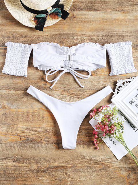 outfits Off Shoulder Smocked Sleeve Cinched Bikini Set - WHITE L Mobile