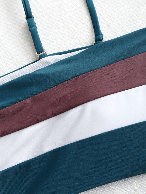 new Cami Striped High Waisted Bikini - BLACKISH GREEN M Mobile