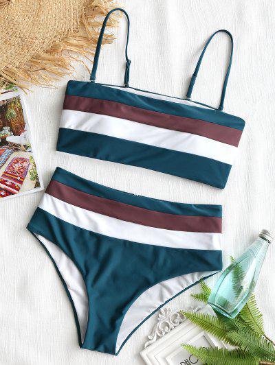 Cami Striped High Waisted Bikini - Blackish Green S