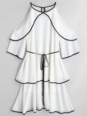 Cold Shoulder Tiered Belted Dress