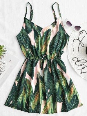 Cami-Abdeckungs-Kleid mit tropischesm Blatt-Druck