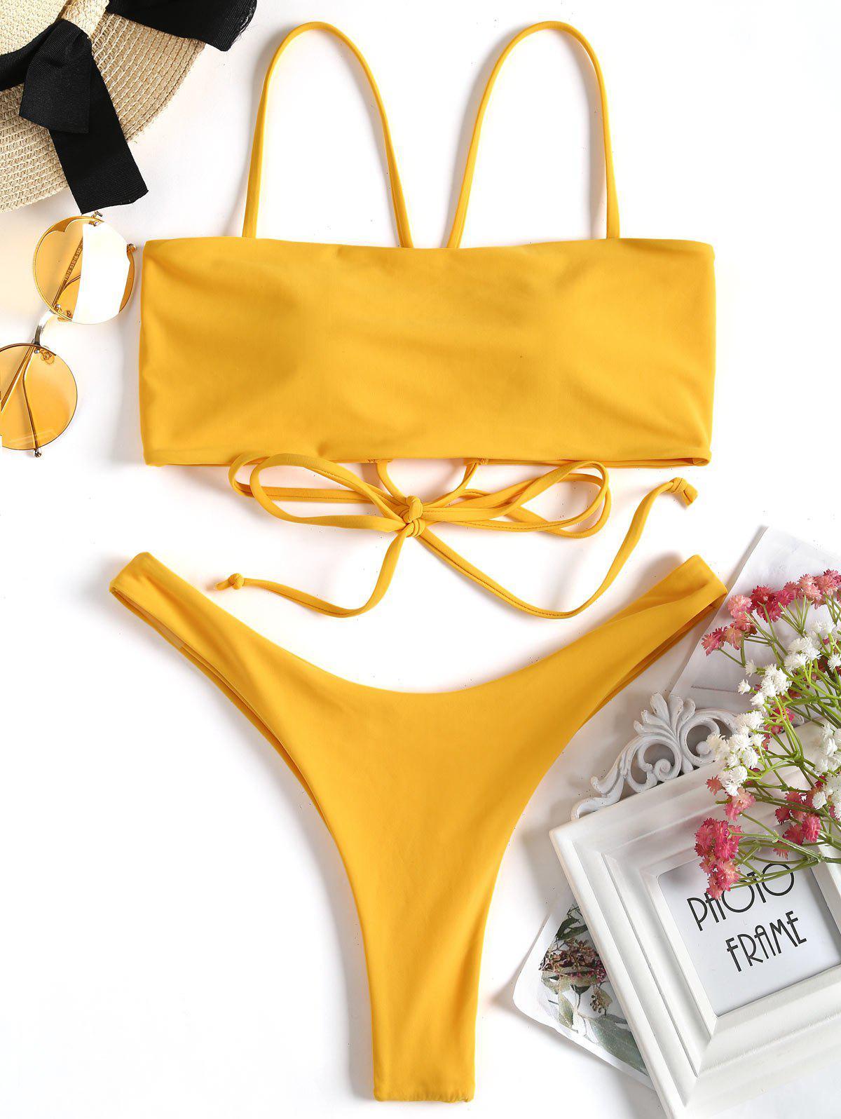 Cross Back High Cut Thong Bikini Set 249533001