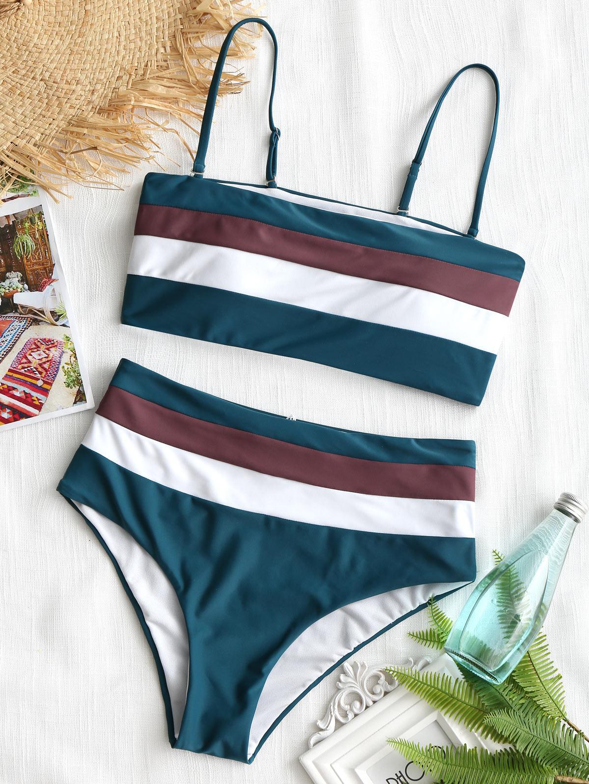 Cami Striped High Waisted Bikini, Blackish green