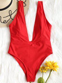 لباس سباحة بياقة عميقة - أحمر S