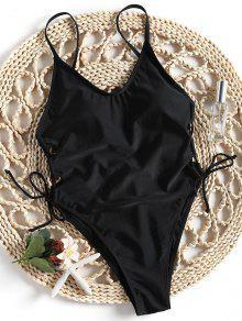 قطع عالية الظهر الدانتيل يصل ملابس السباحة - أسود S