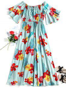 الاستوائية قبالة الكتف فستان الشاطئ - أخضر L