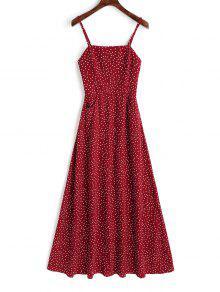 فستان ماكسي سموكيد البولكا نقطة - أحمر Xl