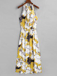 فستان ماكسي بلا أكمام انقسام - الأزهار Xl