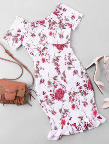 Hombros Descubiertos Ajustado Floral Con Vestido Xl Blanco dxItqnp