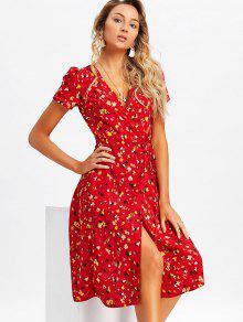 فستان لف ميدي طباعة الأزهار المصغرة - أحمر S