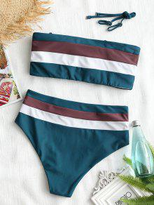 e83ac49f2a 15% OFF] [HOT] 2019 Cami Striped High Waisted Bikini In BLACKISH ...