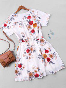 0613673d79b 34% OFF  2019 Floral Print Short Faux Wrap Dress In WHITE