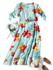 فستان ساطئ بلا اكتاف ميدي  - أخضر M