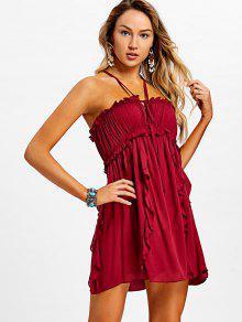 فستان كامي كشكش كروس الظهر - نبيذ أحمر Xl