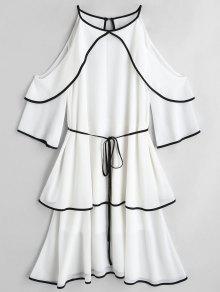فستان مربوط متدرج باردة الكتف - أبيض M