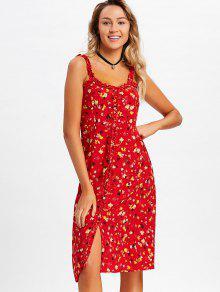 فستان ميدي زر طباعة الأزهار المصغرة - أحمر L