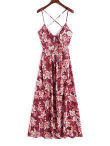 كامي كريسس الصليب الزهور فستان ماكسي - أحمر غامق L