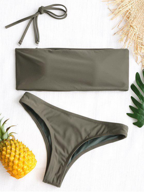 Hohe Schlitz Bandeau String Badeanzug - Armeegrün L