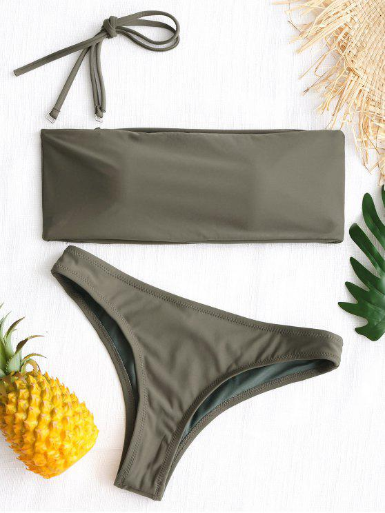 fashion High Cut Bandeau Thong Bathing Suit - ARMY GREEN S