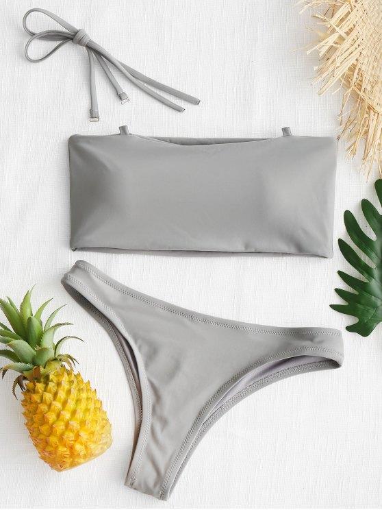 women's High Cut Bandeau Thong Bathing Suit - GRAY L