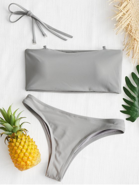 online High Cut Bandeau Thong Bathing Suit - GRAY S