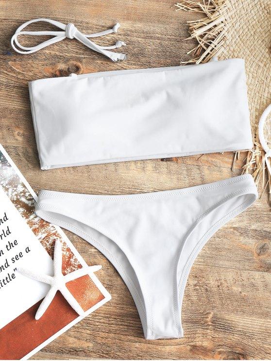 Maillot de Bain Bandeau et Culotte à Coupe Haute - Blanc XS