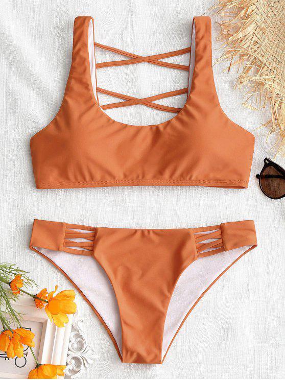 hot Strappy U Neck Bathing Suit - ORANGE S