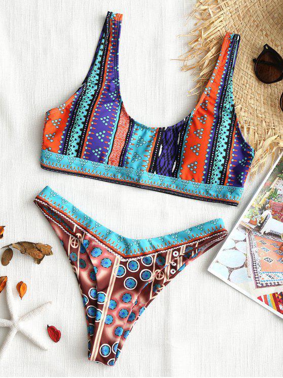 best Colorful Printed High Cut Bikini Set - COLORMIX S