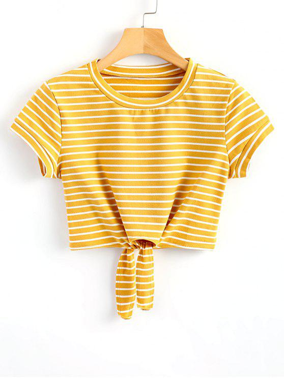 shops Striped Knot Front Crop Tee - YELLOW S