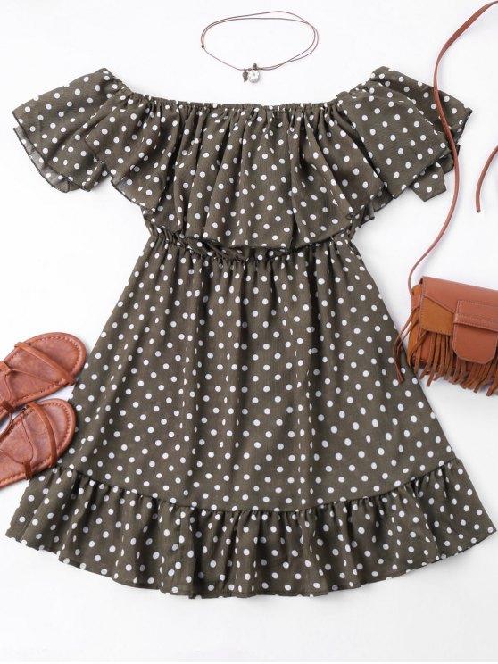 affordable Polka Dot Off The Shoulder Mini Dress - COLORMIX XL