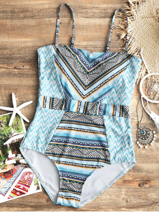 trendy Printed Zig Zag One Piece Swimsuit - COLORMIX M