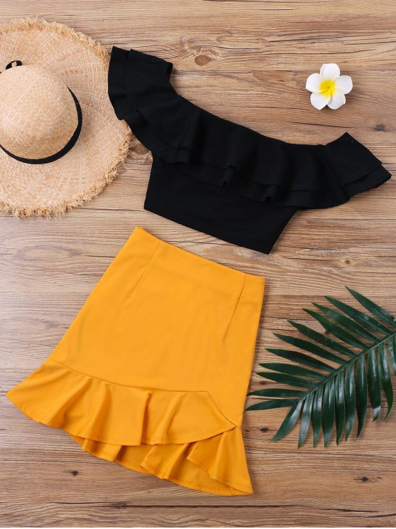 best Ruffle Off The Shoulder Skirt Two Piece Set - ORANGE XL