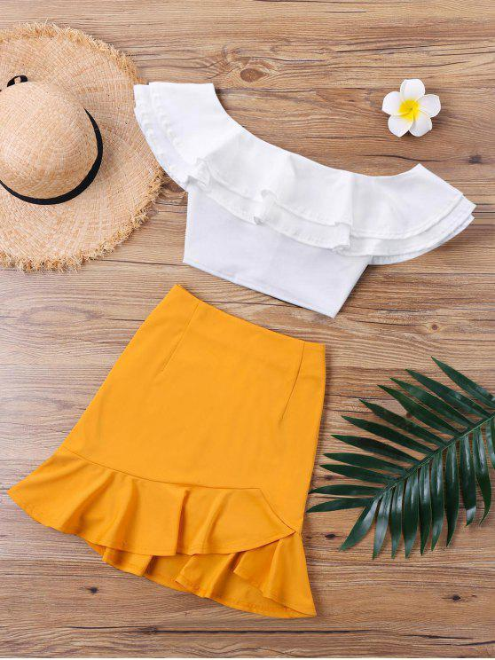 outfit Ruffle Off The Shoulder Skirt Two Piece Set - WHITE M