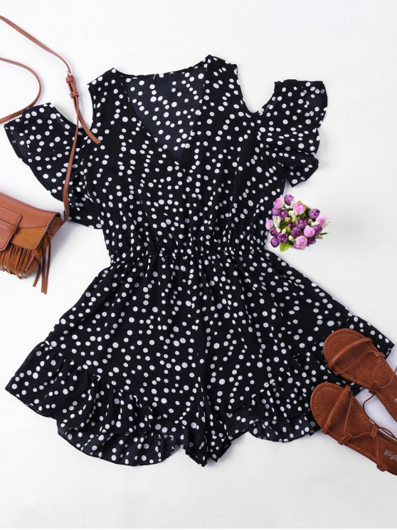 fashion Polka Dot Cold Shoulder Romper - COLORMIX L