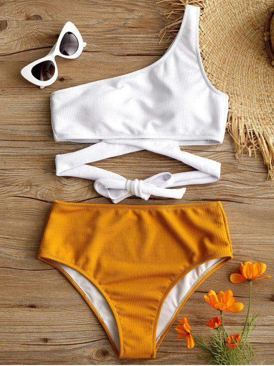 lady One Shoulder Two Tone Bikini Set - WHITE S
