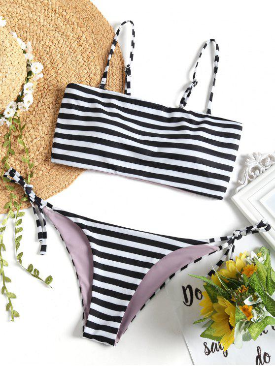 trendy Cami Striped String Bikini Set - WHITE AND BLACK M
