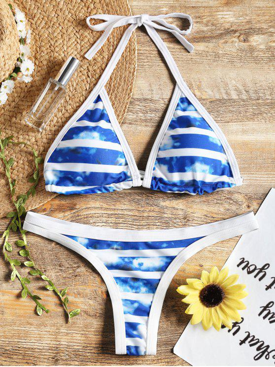 Schnürung Färbung Piping Halfter Bikini Set - Blau M