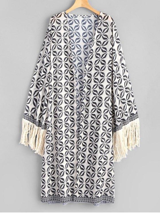 Kimono de playa de manga larga con borlas - Colormix Única Talla