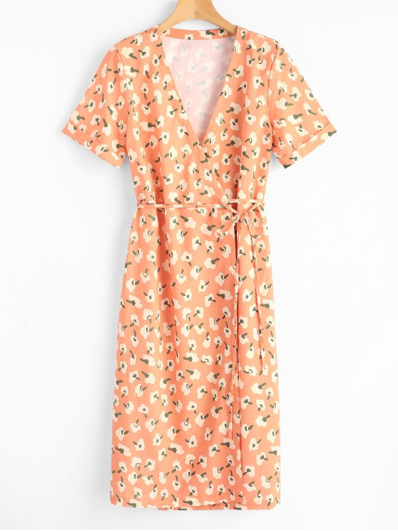 hot Short Sleeve Floral Wrap Midi Dress - ORANGE YELLOW M