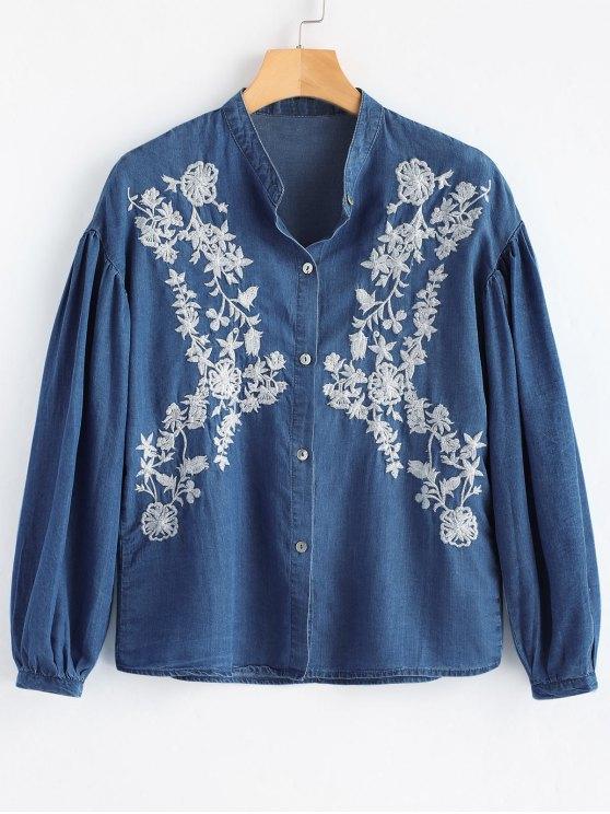 Langarm Knopf Unten Besticktes Shirt - Dunkel Blau M