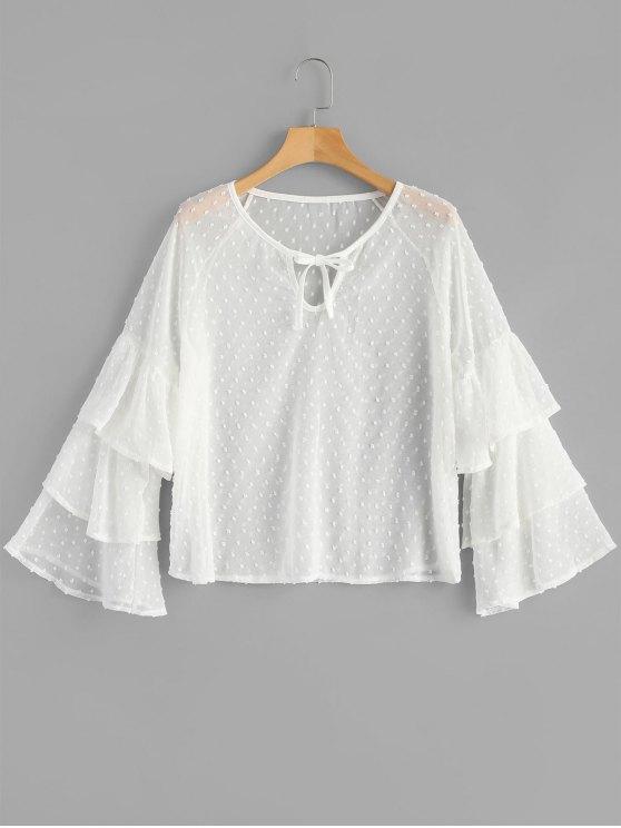 بلوزة شفاف - أبيض XL