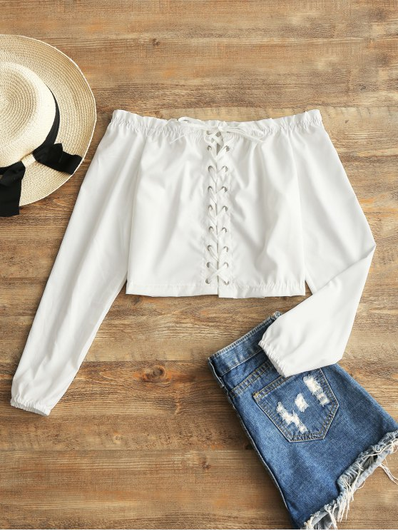 womens Cropped Lace Up Off Shoulder Top - WHITE S