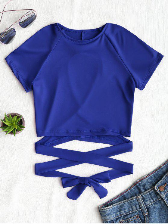 Cut Out Back Criss Cross Top - Azul S