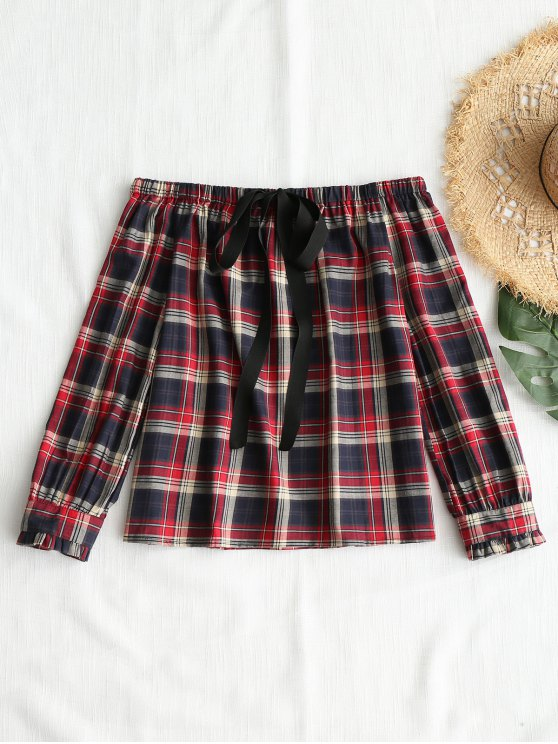 womens Front Tied Plaid Off Shoulder Top - CHECKED L