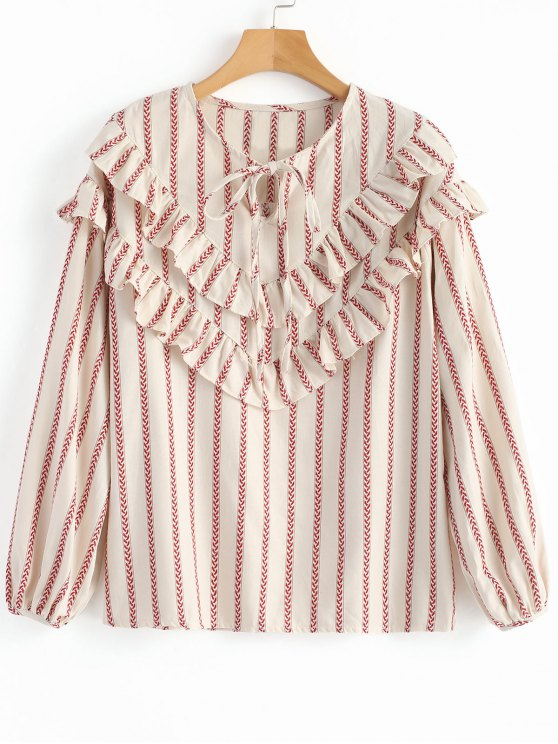 ladies Front Tied Stripes Ruffles Blouse - STRIPE ONE SIZE