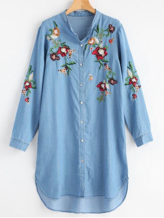 Casuale Vestito Da Camicia Ricamato A Maniche Lunghe - Blu Chiaro Una Taglia
